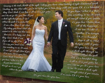 Personalized wedding picture with lyrics, framed song lyrics, first dance lyrics, first dance wedding song lyrics framed, anniversary gift