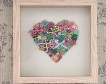 Heart Collage Shadow Box