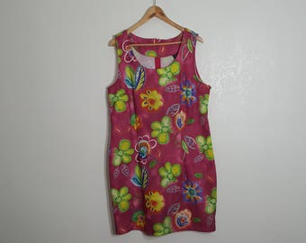 Clearance Plus Size Pink Dress / Groovy floral dress / Short Groovy Dress / 50s 60s 70s