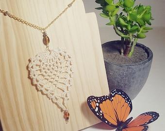 Pineapple stitch crochet jewelry gold necklace
