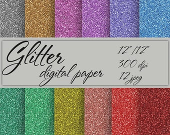 Glitter Digital paper Instant download Glitter Digital Paper Pack Scrapbook Paper Digital multicolored background glitter paper