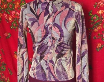 70's funky sparkling psychedelic abstract vintage blazer