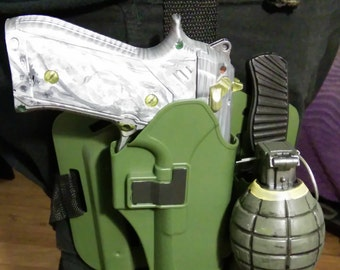 Tactical thigh holster with Exotic Named weapon Damascus and misc.
