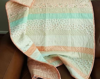 Pastel coral, teals, green Handmade Baby Crib Quilt - Coral Reefs