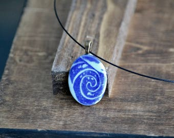 Blue koi fish wave porcelain oval pendant necklace