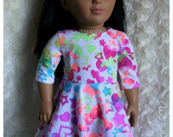 18 Inch Doll Clothing Taylor Regatta Tee Summer Dress Neon Hearts & Stars