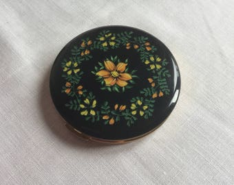 Vintage Retro 1950s Compact with Mirror Floral Decorated Lid