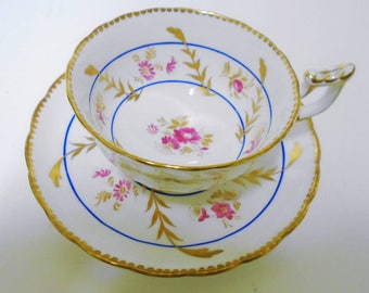 Royal Chelsea Pink rose and daisy Shimmering gold royal blue stripe wide tea cup and saucer