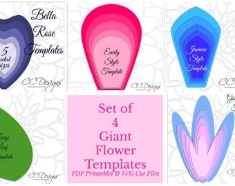 Easy Large Paper Flower Patterns, Printable Giant Flower Templates, Giant Paper Flowers, Wedding Flower Backdrop, Patterns and Tutorials