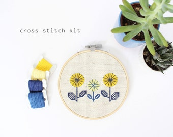 Yellow Springtime Flowers - Modern DIY Cross Stitch Kit - Beginners Cross Stitch Kit
