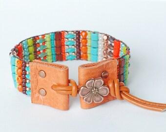 Beaded Woven Bracelet, Beaded Loom Cuff Bracelet, Autumn Bracelet, Fall Colors, Orange, Turquoise, Green, Brown, Boho Chic