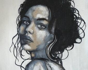 Portrait black&white Portrait face woman girl art black white blue original acrylic painting canvas
