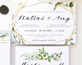 Amy Gold and Watercolour Green Wedding Invitation Sets, Printable Wedding Invitations or Printed Invitations with Belly Bands, Green Leaves
