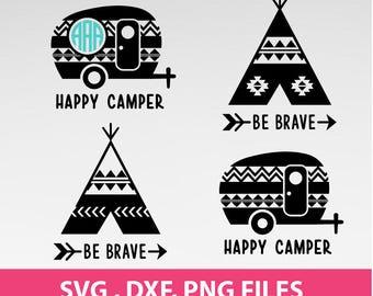 """Aztec Happy Camper Svg, Tee Pee SVG, Tepee Svg, Arrow svg, Be Brave svg, Camper svg, DXF, PNG Formats,  8.5x11"""" sheet,  Printable 0025"""