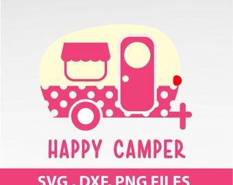Instant Download, Happy Camper SVG, Happy Camper traveler Polka dot, svg, DXF, PNG Formats 0022