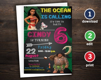 Moana Invitation Template, Moana Birthday Invitation Girl, Moana Birthday Invitation, Moana Birthday Party Invitation, Invitations Girls