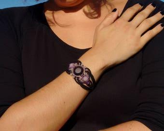 Macrame bracelet, Pink quartz bracelet, macrame jewelry.