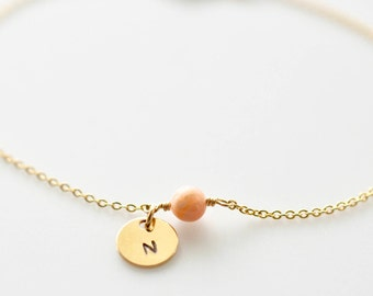 Pink Opal Initial Charm Bracelet, Delicate Chain Personalized Disk Gemstone Bracelet • Tiny Disc in Gold Fill or Sterling Silver •