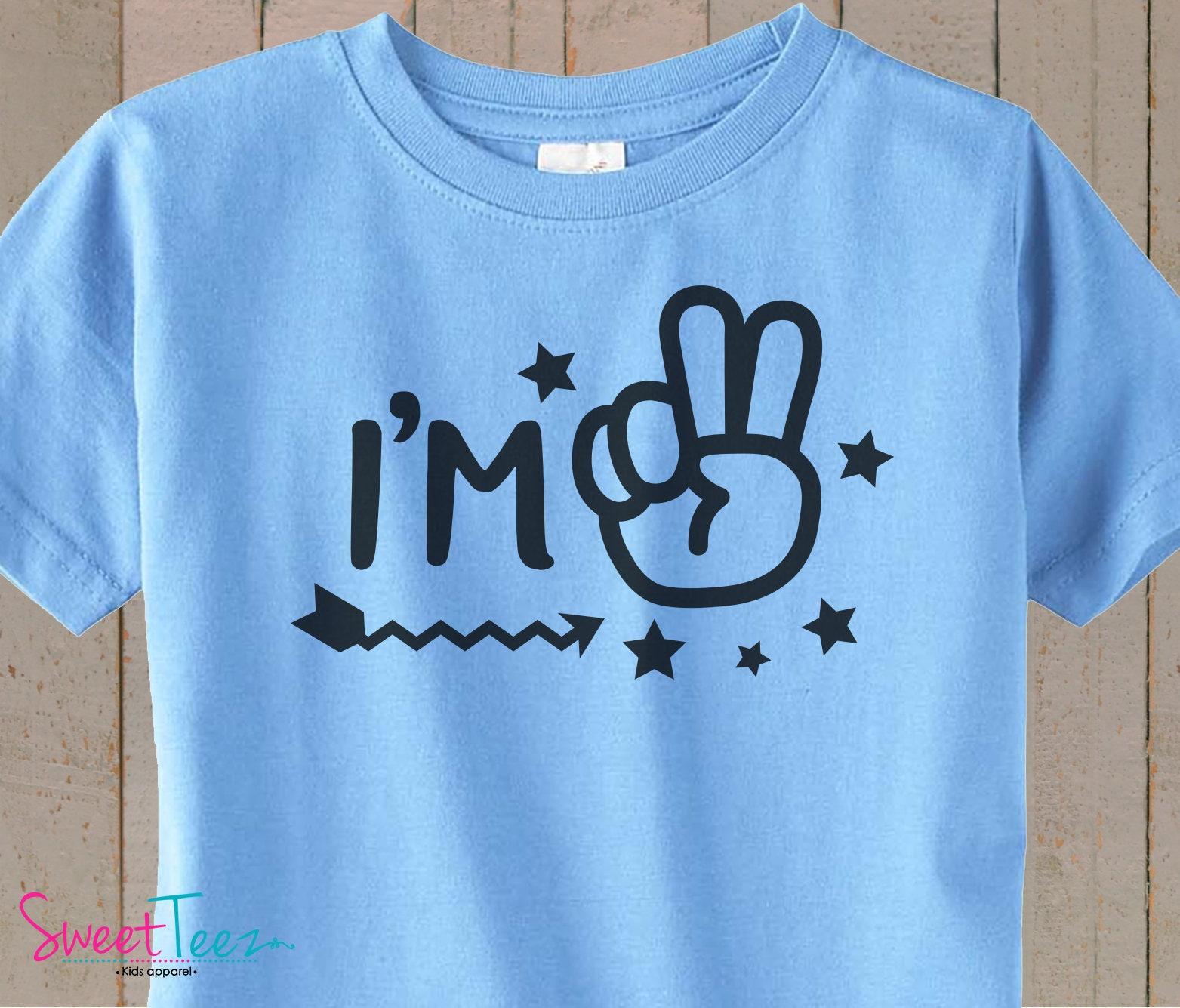 2nd Birthday Shirt Im 2 Second Boy Girl Green Blue Tshirt