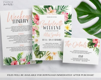 Printable Tropical Bachelorette Weekend Invitation | Bachelorette Itinerary Template | Editable | Hens Weekend | Hens Party | Tropical Palm