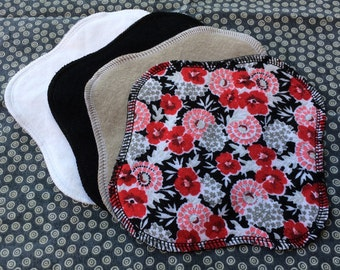 "Ready to Ship 4-Pack, Reusable Cloth Pantyliner, Panty Liner, 100% Flannel, 7"" Size, Black Floral Print and Solid White, Black and Gray"