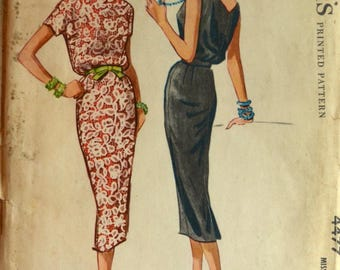 Uncut 1950s McCall's Vintage Sewing Pattern 4477, Size 14; Misses' Dress