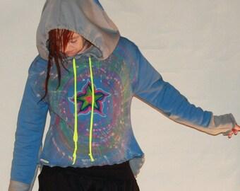 Psytrance, Goa, hoodie, UV, glow in the dark pointy hood, psychedelic Hoodie, Festival clothing, wear psy