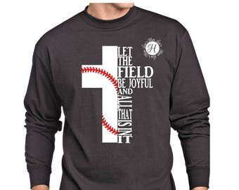 Let the field be joyful ad all that is in it cross SVG DFX  Christian svg, Scripture svg, commercial license. Baseball svg,  t-shirt design