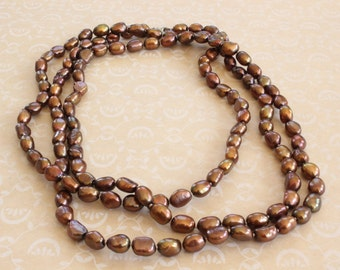 Vintage Honora Chocolate Brown Pearl Necklace Long Freshwater Pearl Rope Necklace Flapper Length FREE SHIPPING