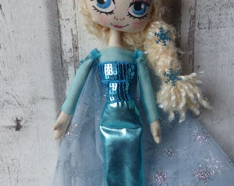 ELSA the snow Queen rag doll (doll, doll, ooak doll art doll handmade rag)