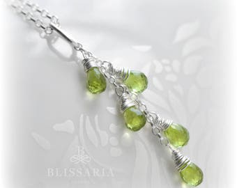 Peridot Necklace, Peridot Tassel Necklace, Peridot Gift for Her, Green Peridot Pendant, Silver Necklace with Peridot, Handmade by Blissaria