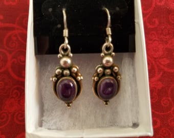 E031 Vintage Sterling Silver Earrings with Amethysts