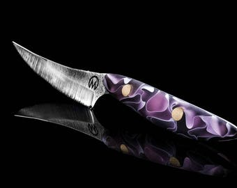 Custom pink steak knife, handmade in belgium
