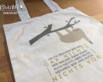 "Cloth bag / canvas bag / tote bag / bag ""Sloth"""