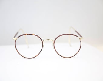 14 K Gold filled Algha Optical Frames made in England Round lens/cable arms