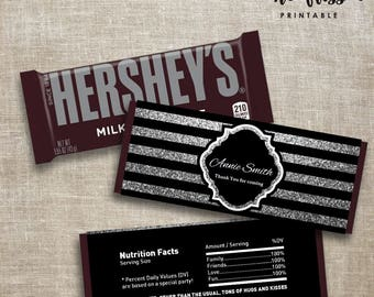 Black and silver Stripe Candy Bar Label | Hershey Chocolate Wrappers | Editable | Printable | Instant Download