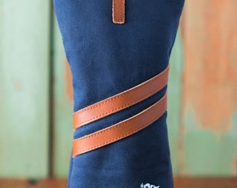 Personalized Handmade Golf Headcover in Navy, Golf club Head Cover, Waxed Canvas golf gifts for men