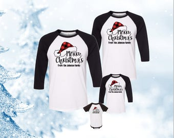 Merry Christmas Family Shirt, Buffalo Plaid Family Christmas Shirts, Family Christmas Baseball Shirts, Family Christmas Baseball Tees