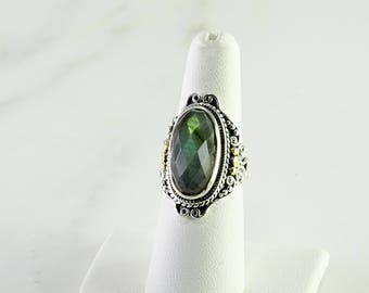 Green Stone Sterling/18K Gold Statement Ring Size 7