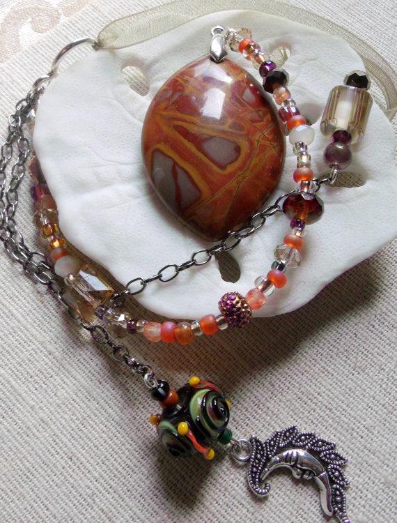 Agate sun catcher -  orange brown hanging agate stones -  wall art - rear view mirror - sun - moon - lizard silver charms -  lamp work bead