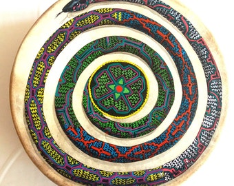 Shaman Drum Anaconda Shipibo Conibo (hand painted)