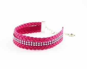 Cuff Pink - Pink Rhinestone Cuff Bracelet - layering - girl gift - gift for her