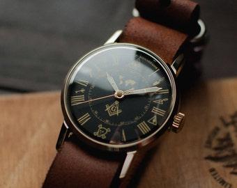 Mens soviet watch Zim - Masonic 1980 release, ussr watch, montre russe, watches men, gift for men, gent wrist watch, new leather strap NATO