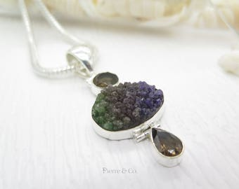 Rainbow Agate Drusy and Smoky Topaz Sterling Silver Pendant and Chain