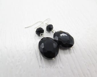 Faceted Oval Black Onyx Dangle Sterling Silver Earrings
