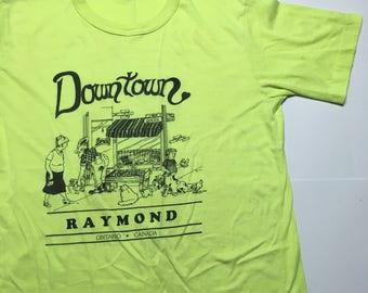 Vintage Fluorescent Yellow tShirt - Vintage Neon Yellow Tourist Shirt - Vintage Tourist Shirt - Raymond - Vintage dog shirt- 80s graphic tee