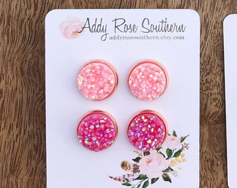 12mm pink Druzy earring set, druzy earrings, pink Druzy, valentines earrings