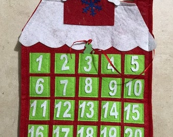 Vintage Christmas Santa Countdown December Calendar Made of Felt
