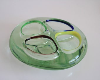 Large Glass Quad Colour Ashtray Trinket Dish Murano used piece