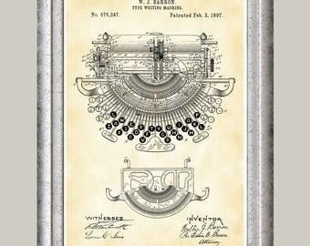 Typewriter Patent Print, School Typewriter Poster, Antique Type Writer, Typist Gift, Typing, Literary Decor, Writer Art, Novelist Art P385
